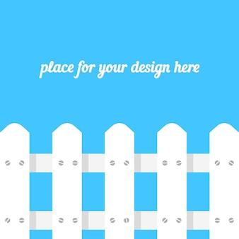 青い背景に白い柵。境界構造の概念、単純なパリング、防御、牧草地、フッターサイト、デザイングリーティングカード、木材パネル。フラットスタイルトレンドモダンなデザインのベクトル図