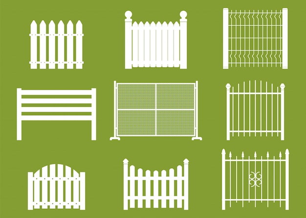 White fences vector flat set isolated on background.