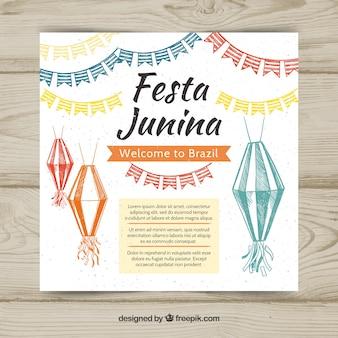White festa junina cover template