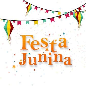 White festa junina design with garlands