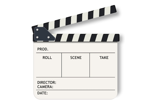 White film clapperboard slate.