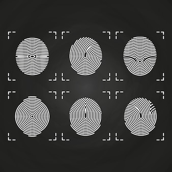 White fingerprints icons collection on chalkboard