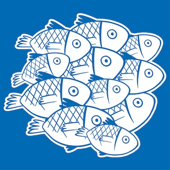 White fishes on blue background