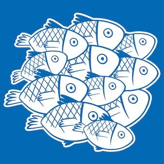 파란색 배경에 흰색 물고기