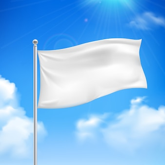 White flag in the wind against the blue sky with white clouds background banner abstract