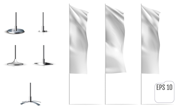 White flags. realistic mockups of banner flags with folds. vector