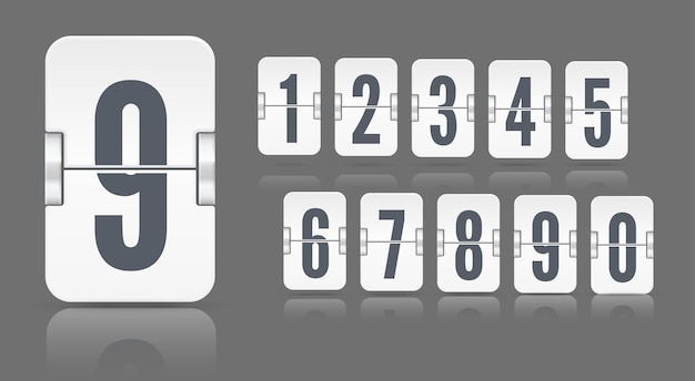 暗い背景の異なる高さに浮かぶ反射を伴う白いフリップメカニカルスコアボード番号。時間カウンターまたはwebページタイマーのベクトルテンプレート
