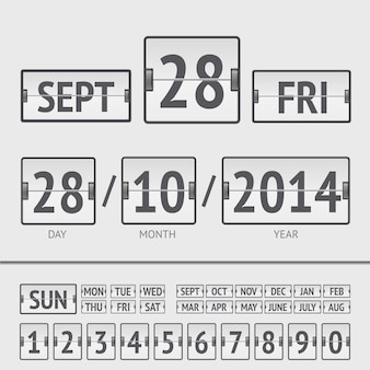 White flip scoreboard digital calendar with date and time of the week