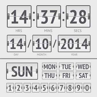 曜日と時刻が記載された白いフリップスコアボードデジタルタイマー