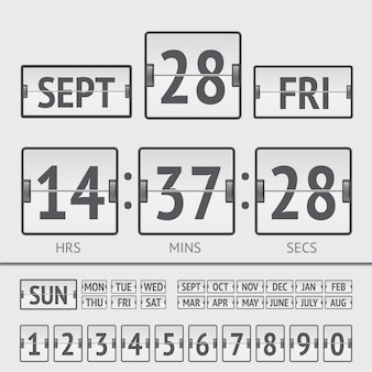 White flip scoreboard digital timer with date and time of the week