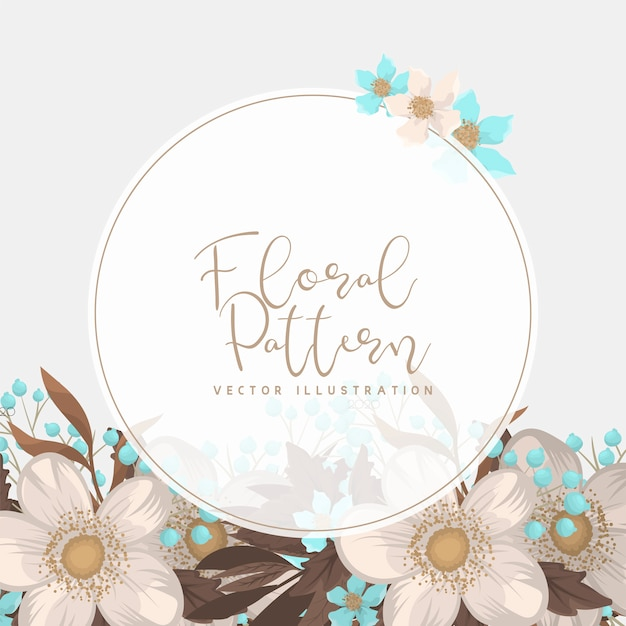 White floral background flower border