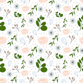 White floral seamless pattern with gorgeous autumn flowers