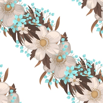 White flower background seamless pattern