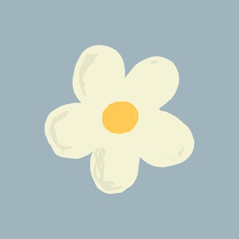 White flower element vector cute hand drawn style