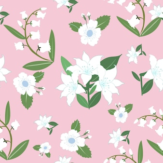 White flower and green leaf seamless pattern.