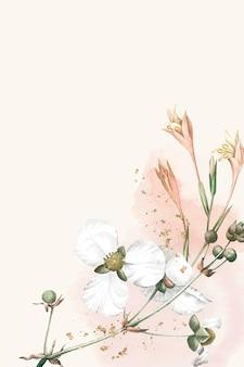 ベージュの背景に白い花