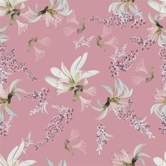 白い花のシームレスなパターンベクトル図