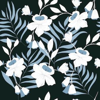 白い花のシームレスパターン