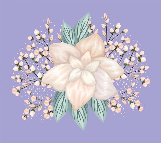 Белый цветок с листьями, картина, дизайн, натуральный цветочный природа, растительный орнамент, украшение сада