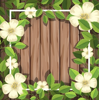 White flower on wooden board