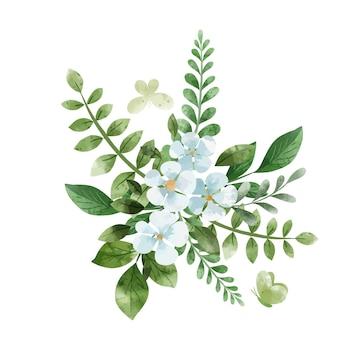 白い花と緑の花束。手描きの水彩イラスト。