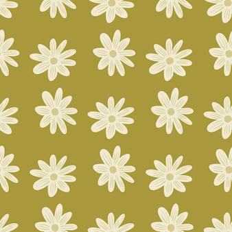 White flowers daisy ornament seamless pattern in hand drawn style. pale green background. abstract print. graphic design for wrapping paper and fabric textures. vector illustration.