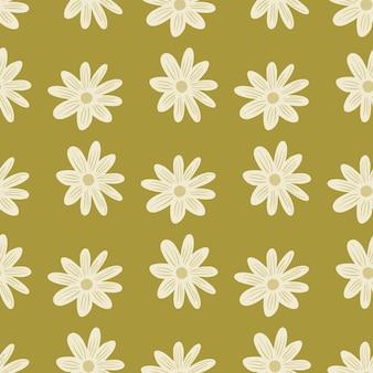 白い花デイジー飾り手描きスタイルのシームレスなパターン。淡い緑の背景。抽象プリント。紙や布のテクスチャを包むためのグラフィックデザイン。ベクトルイラスト。