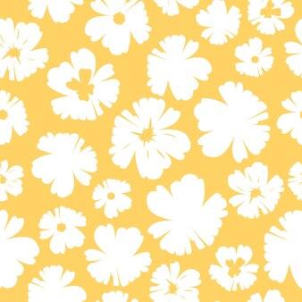 Белые цветы на желтом фоне бесшовные модели дизайна