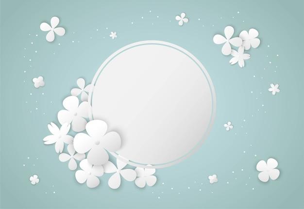 Белые цветы бумага арт и рамка круг