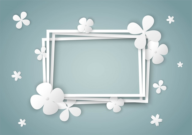White flowers with square frame