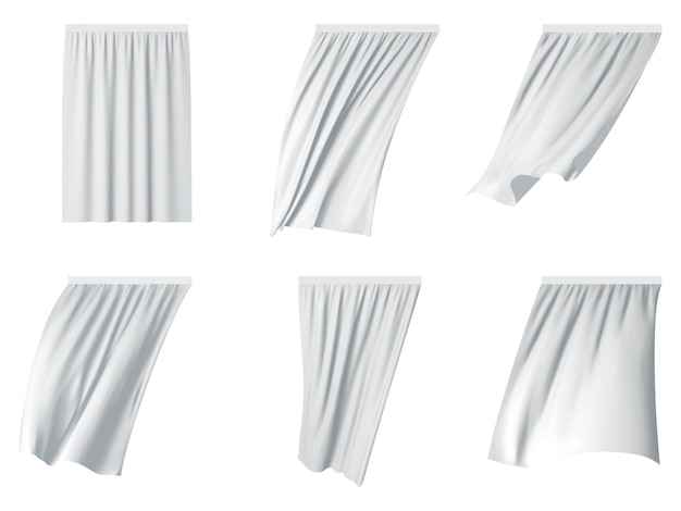 White fluttering curtain set.
