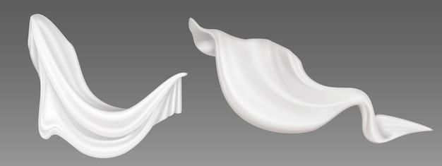 화이트 플라이 패브릭, 접힌 플라잉 천, 부드럽고 흐르는 새틴 소재, 가볍고 투명한 커튼. 추상 장식 직물 또는 커튼 회색 배경에 고립. 현실적인 3d 그림
