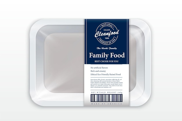 White foam tray with plastic film mockup modern style fish label