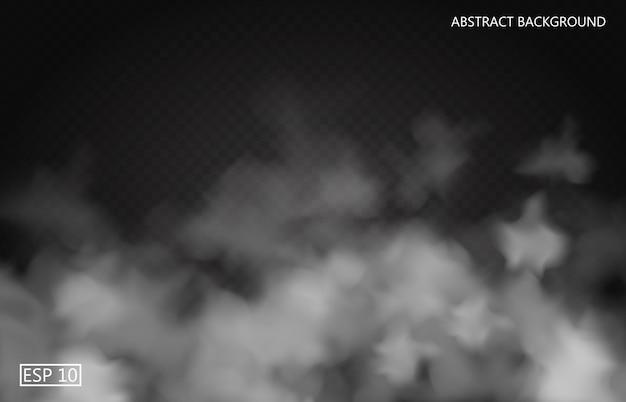 Белый туман или дым на темном прозрачном фоне. облачное небо или смог. иллюстрация