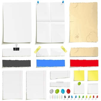 White folded paper, grungy old paper, ragged sheets of paper, blank squared and lined notepad pages and elements for attaching paper. pin, plasticine, scotch tape and paperclip set