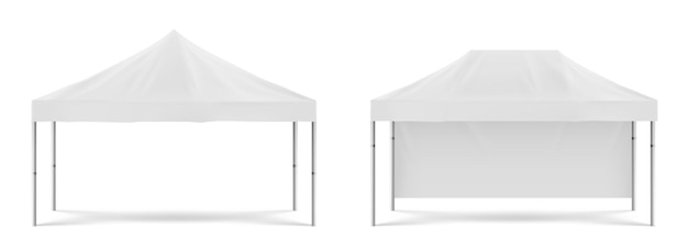 흰색 접이식 승진 텐트, 해변 또는 정원 파티, 마케팅 전시회 또는 무역을위한 야외 모바일 천막. 흰색 배경에 고립 된 빈 축제 천막의 벡터 현실적인 모형