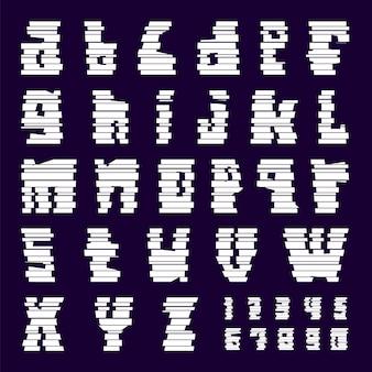 Белым шрифтом вырезаны полосы. модный алфавит, векторные буквы, построенные из блоков, строчные буквы