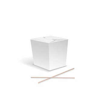 White food box, container for fast chinese food, take out noodle box with chopsticks.