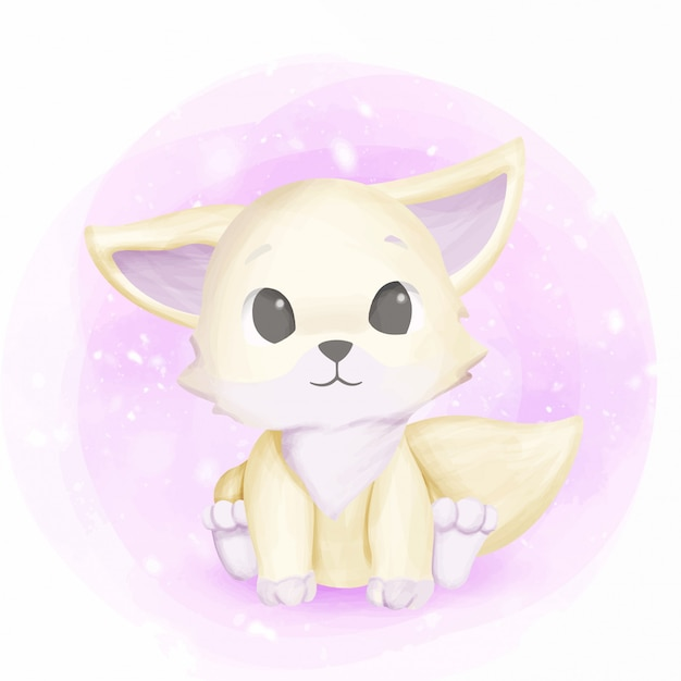 White foxy baby adorable and cute