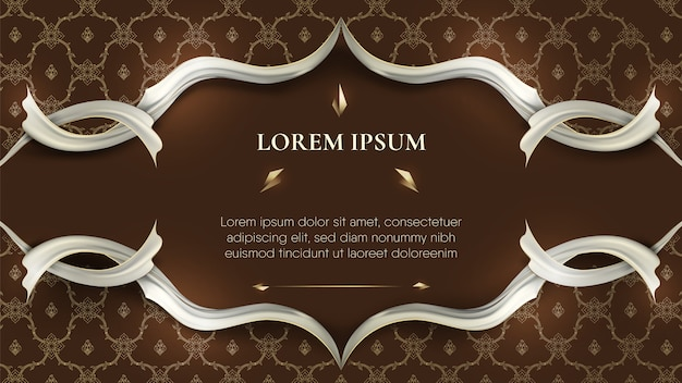 White frame on abstract traditional dark brown thai decoration background