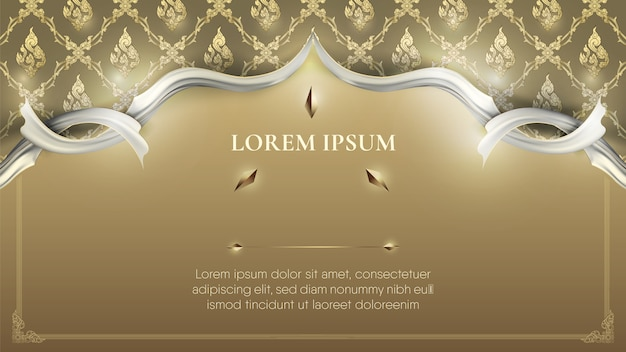 White frame on abstract traditional gold thai decoration background