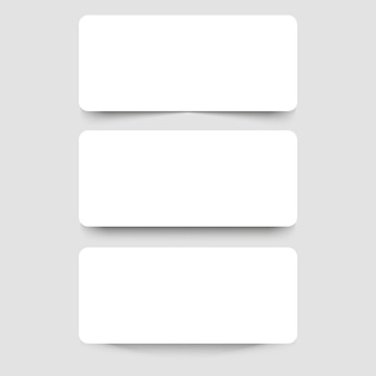 White frame banners with shadows on the gray background