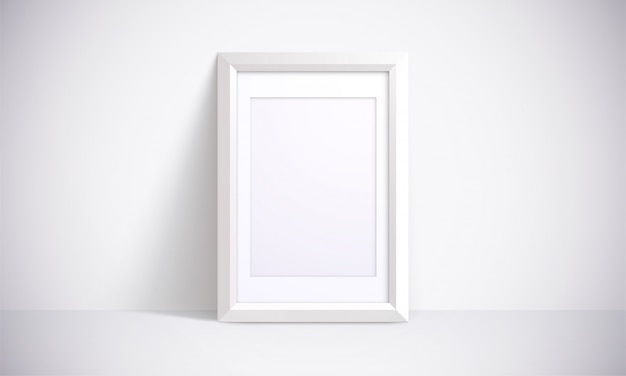 White frame for photographs, painting or posters. 3d illustration. realistic interior scene.