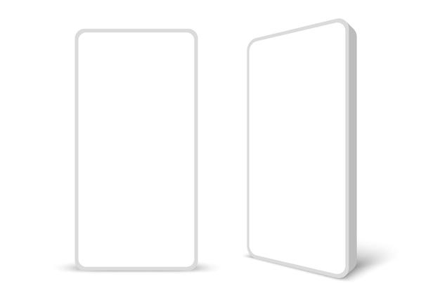 白いディスプレイと白いフレームレススマートフォンベクトル図