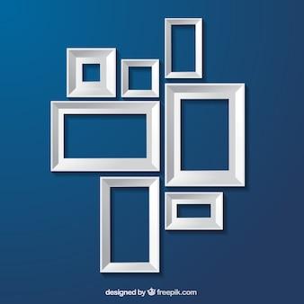 White frames on blue background