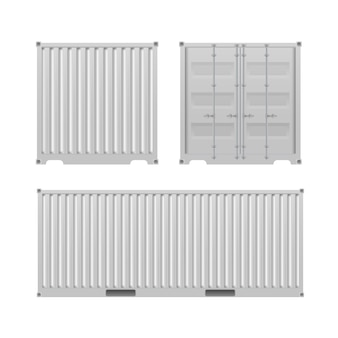 White freight container. large container for a ship isolated on a white background. front and side view.