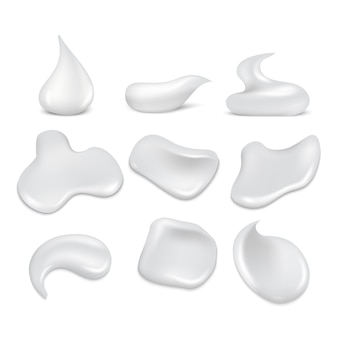 White fresh cream strokes, mousse, foam, froth set. foam skincare smooth and soft