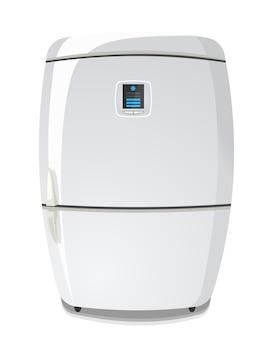 White fridge isolated on white vector illustration