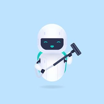 흰색 친화적 인 청소 로봇 및 진공 청소기. 프리미엄 벡터
