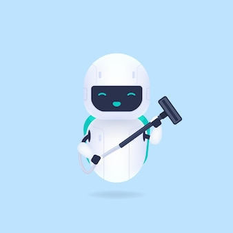 White friendly cleaning robots and vacuum cleaners.
